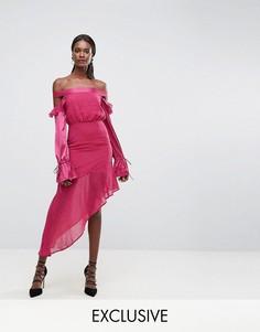 Сетчатое платье с оборками на контрастных рукавах и асимметричным подолом Dark Pink - Розовый