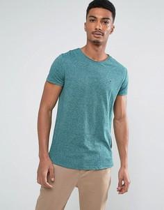 Зеленая меланжевая узкая футболка с логотипом Tommy Hilfiger Denim - Зеленый