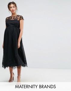 Платье миди для выпускного с кружевом Chi Chi London Maternity - Черный