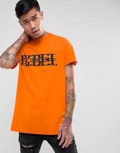 Ярко-оранжевая футболка с принтом Rebel New Look - Оранжевый
