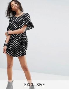 Платье-футболка в горошек Milk It Vintage - Черный