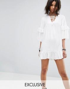 Свободное платье с завязкой на шее Milk It Vintage - Белый
