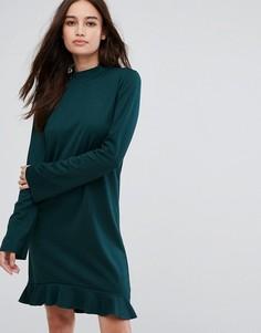 Платье с длинными рукавами и оборкой Vila - Зеленый