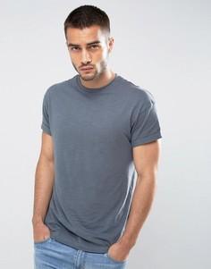 Темно-серая футболка с отворотами на рукавах New Look - Серый