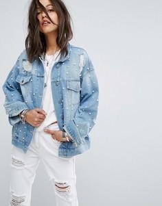 Джинсовая куртка с отделкой искусственным жемчугом Free People - Синий