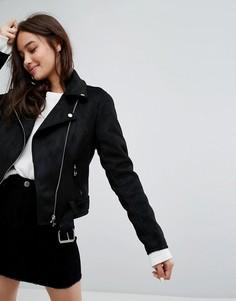 Байкерская куртка из искусственной замши New Look - Черный