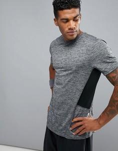 Серая меланжевая футболка с сетчатыми вставками New Look - Кремовый