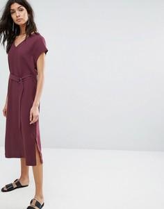 Платье с поясом Selected - Фиолетовый