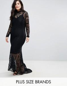 Кружевное платье макси с юбкой годе Club L Plus - Черный