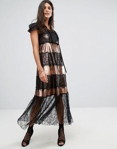 Платье миди с оттенком металлик и кружевной отделкой Tresophie - Черный