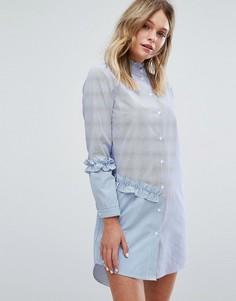 Платье-рубашка в комбинированную полоску Miss Selfrdige - Мульти