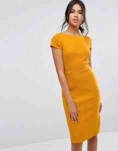 Облегающее платье в рубчик с короткими рукавами Closet London - Желтый