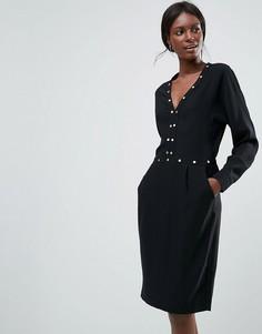Платье с длинными рукавами и отделкой Y.A.S - Черный