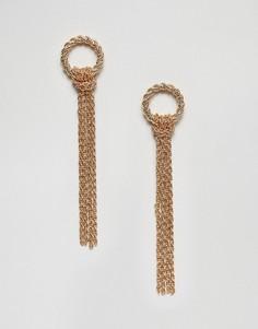 Серьги-подвески с цепочками Pieces - Золотой
