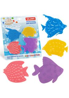 Набор мини-ковриков на присосах для ванной комнаты (4 шт.) МИКС Valiant