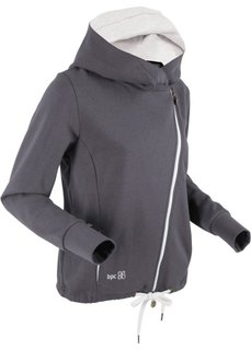 Трикотажная куртка с асимметричной застежкой-молнией (шиферно-серый) Bonprix