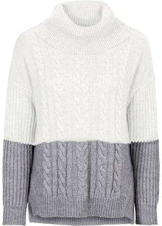 Вязаный пуловер с узором косичка (серый/кремовый) Bonprix