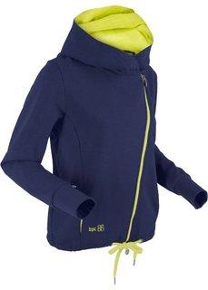 Трикотажная куртка с асимметричной застежкой-молнией (темно-синий/зеленый лайм) Bonprix