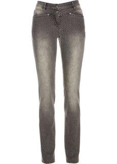 Стрейчевые джинсы в горошек (серый деним) Bonprix