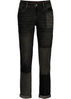 Джинсы мужского фасона с имитацией заплаток (черный деним) Bonprix