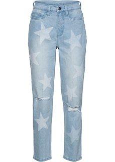 Рваные джинсы в ретро-стиле со звездным принтом (голубой) Bonprix