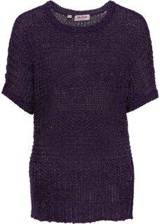Пуловер из структурной пряжи (темно-лиловый меланж) Bonprix
