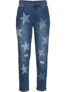 Рваные джинсы в ретро-стиле со звездным принтом (синий «потертый») Bonprix