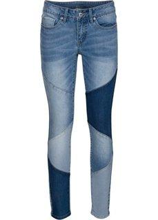 Джинсы Skinny с треугольными вставками (голубой) Bonprix