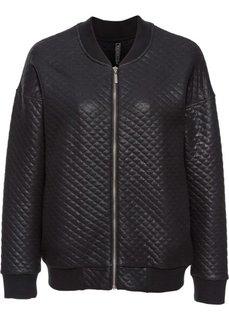 Куртка-бомбер из блестящего материала (черный) Bonprix