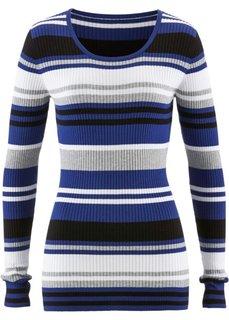 Пуловер с круглым вырезом (сапфирно-синий в полоску) Bonprix