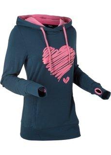 Свитшот с принтом сердца (темно-синий) Bonprix