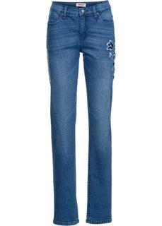 Классические стрейчевые джинсы с вышивкой, cредний рост (N) (синий) Bonprix
