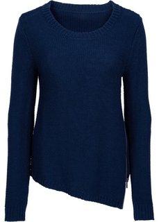 Вязаный пуловер с вырезом на молнии (темно-синий) Bonprix