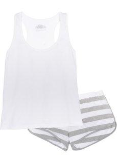 Пижама с шортами из биохлопка (белый/светло-серый меланж в полоску) Bonprix