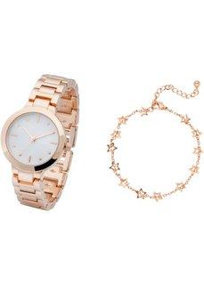 Часы + браслет (2 изд.) (розово-золотистый/белый) Bonprix