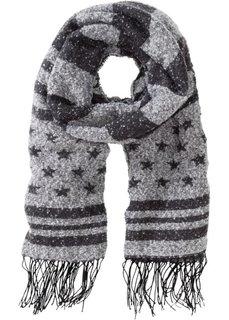 Тканой шарф с узором в полоску и звездочку (темно-серый/светло-серый) Bonprix