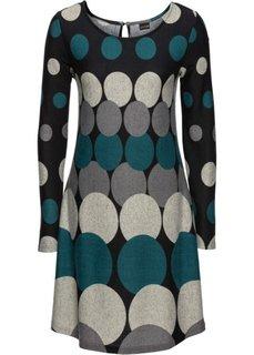 Вязаное платье в горох (черный/сине-зеленый/темно-серый/светло-серый) Bonprix