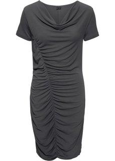 Трикотажное платье с боковой драпировкой (темно-серый) Bonprix