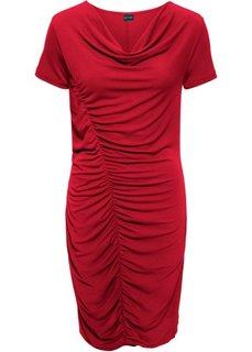 Трикотажное платье с боковой драпировкой (темно-красный) Bonprix