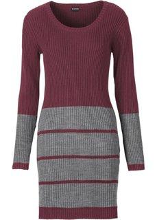 Трикотажное платье (бордовый/серый меланж) Bonprix