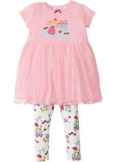 Ночная футболка + легинсы (2 изд.) (розовая пудра/цвет белой шерсти) Bonprix