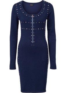 Вязаное платье с молнией и заклепками (ночная синь) Bonprix