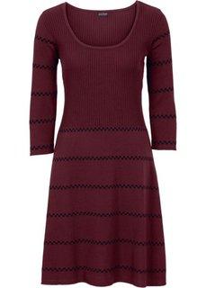Вязаное платье (бордовый/черный в полоску) Bonprix