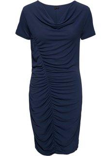 Трикотажное платье с боковой драпировкой (темно-синий) Bonprix