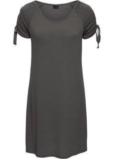 Трикотажное платье с драпировками (темно-серый) Bonprix