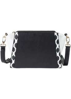 Черно-белая сумка на ремне через плечо (черный/белый) Bonprix