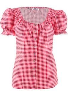 Блузка в традиционном стиле Октоберфеста с вырезом-кармен (клубничный/белый в клетку) Bonprix