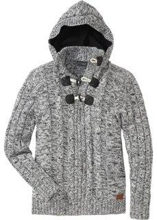 Пуловер Slim Fit (черный меланж) Bonprix