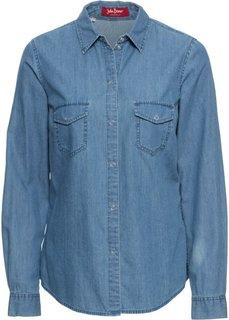 Джинсовая блузка с принтом (нежно-голубой) Bonprix