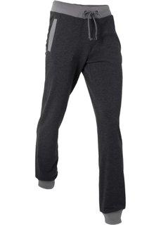Длинные спортивные брюки (черный меланж) Bonprix
